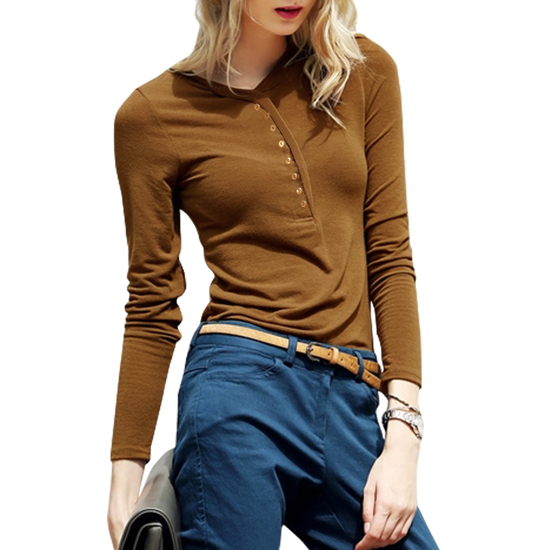 Women Long Sleeves Pullover Half Placket Slim Fit Top Brown S