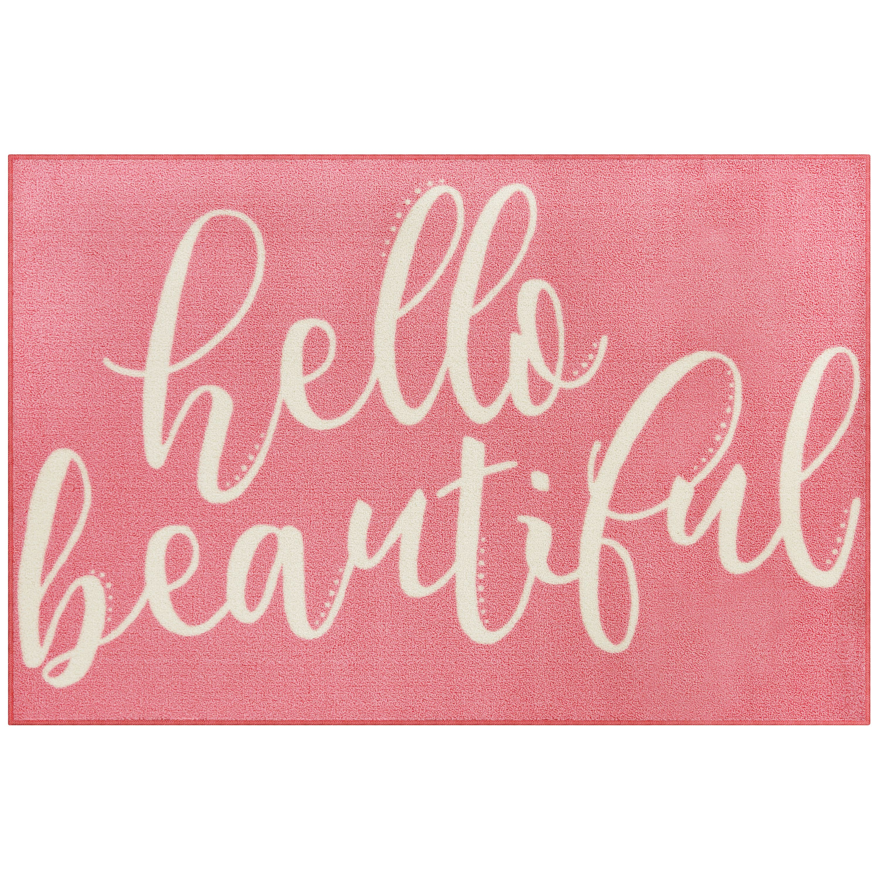 "Mainstays Hello Beautiful Loop Pile Script Print 3'x4"" x 5' Room Rug, Multiple Colors"