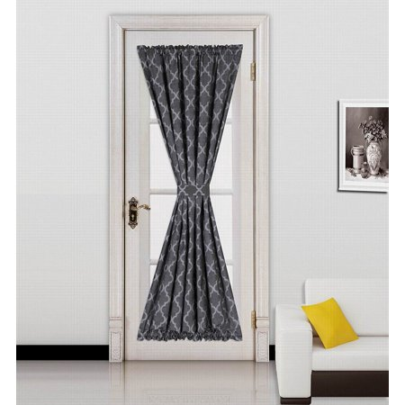 (ELLA) BLACK-GREY 1 Mix Color GEOMETRIC French Door Foam Backing Insulated Thermal Blackout Rod Pocket Curtain Panel 55