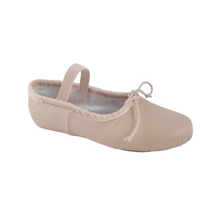 Girls Pink Leather Strap Suede Outsole Ballet Shoes 12.5-4 Kids