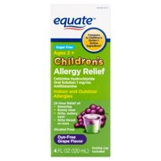 Equate Children's Allergy Relief Cetirizine Suspension, Grape Flavor, Sugar-Free, Dye-Free, 4 Oz