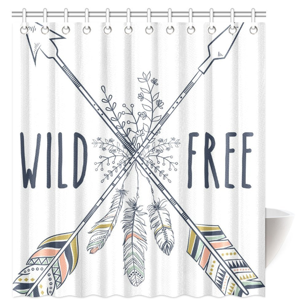 MYPOP Feathers And Floral Decoration Shower Curtain