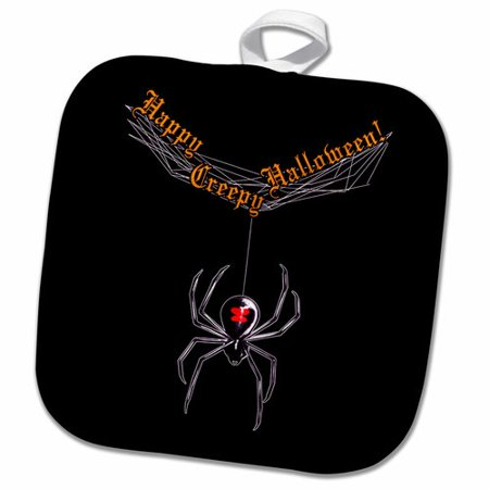 3dRose Widow Spider and Web Wishing Happy Creepy Halloween Background Pot Holder](Spider Web Halloween Background)