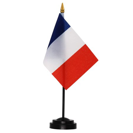 ANLEY France Deluxe Desk Flag Set - 6 x 4 Inches Miniature France Desktop Flag with 12
