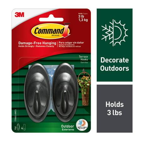 - Command Outdoor Slate Terrace Hooks, Medium, 2 Hooks, 4 Strips/Pack