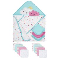 Gerber Baby Girls Organic Towels and Washcloths Bath Bundle, 14-Piece