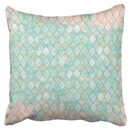 RYLABLUE Light Pink And Aqua Moroccan Pattern Pillowcase Cushion Cover 16x16 inch - image 1 of 1