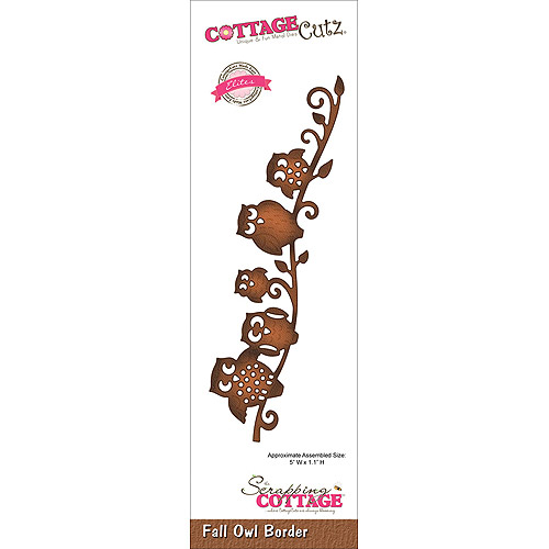 CottageCutz Elites Die Cuts, 5 by 1.1-Inch, Fall Owl Border Multi-Colored
