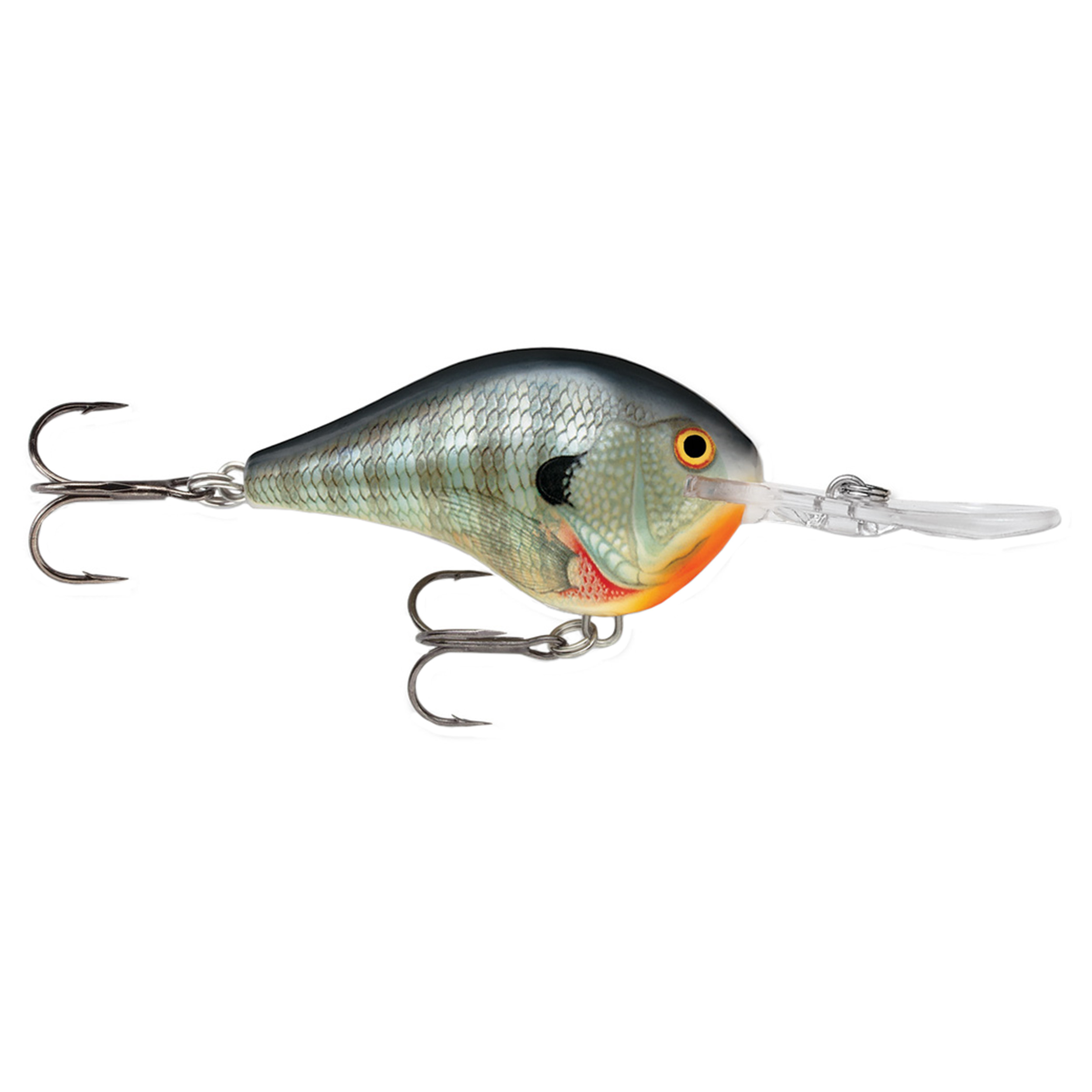 "Rapala Dives-To Series Custom Ink Lure Size 04, 2"" Length, 4' Depth, 2 Number 6 Treble Hooks, Bluegill, Per 1 by Rapala"