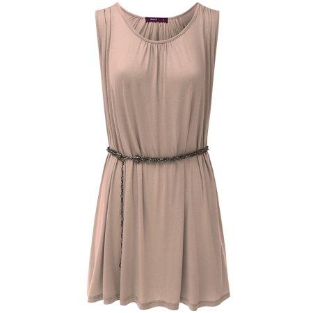 (Doublju Women's sleeveless Scop Neck Lightweight Knitting Dress with belt)