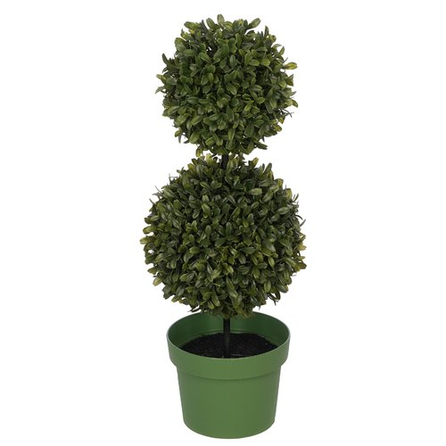 Charlton Home Artificial Double Ball Desktop Boxwood Topiary in Pot