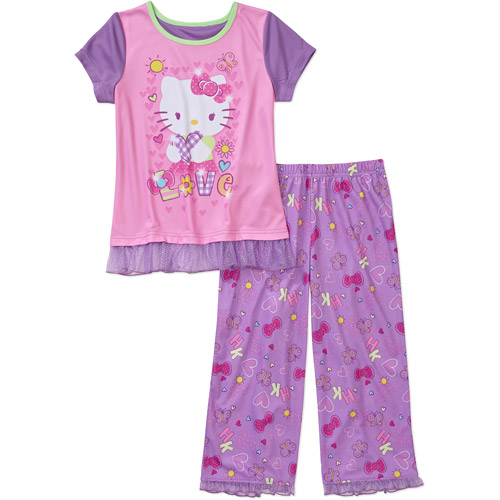 Hello Kitty Girls'' 2 Piece Tee and Pant Pajama Set