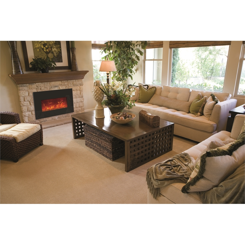 Amantii Medium Insert Electric Fireplace with Black Glass Surround