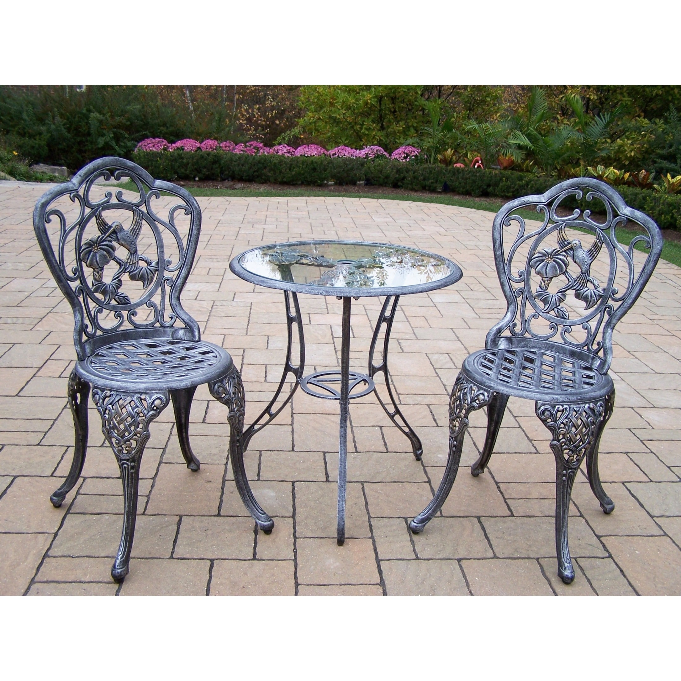 Oakland Living Corporation Lattice Hummingbird Outdoor Aluminum 3-piece Bistro Dining Set