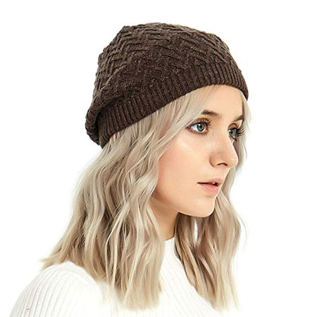 07a25f78fbbc Merino Wool Beret Hat - Women Knitted Braided Crochet Chic French Beanie by  IKEPOD - Walmart.com