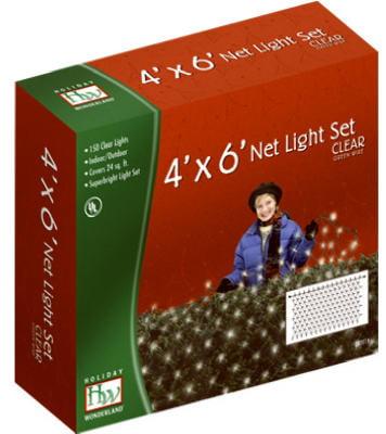 Christmas Net Light Set, Clear, 150 Ct., 4 X 6', Noma, 48950-88