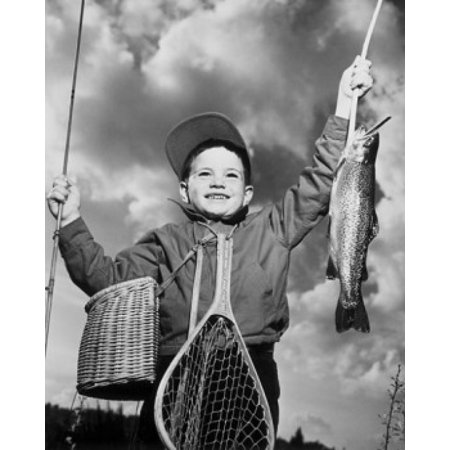 Low Angle View Of Boy Holding Dead Fish And Fishing Pole Canvas Art     18 X 24