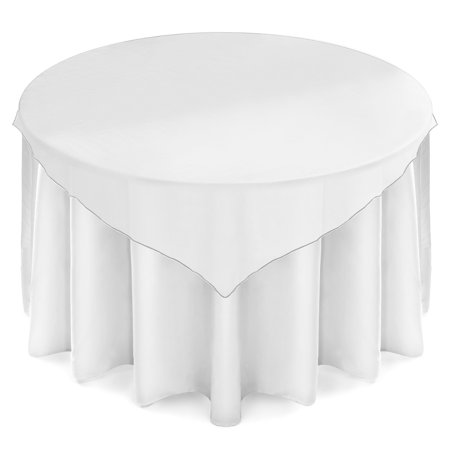 Lanns Linens 72 Inch Square Organza Tablecloth Overlay   Wedding Banquet Party Decoration   White