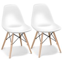 Costway Set of 2 Mid Century Modern Style Dining Side Chair Wood Leg