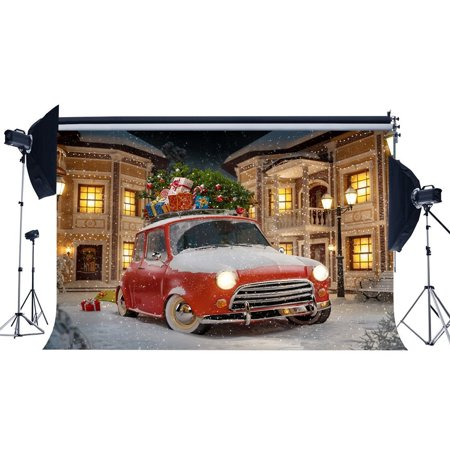 HelloDecor Polyster 7x5ft Photography Backdrop Christmas Gift Box House Vintage Car Heavy Snow Road Lamp Winter Scene Xmas Backdrops for Baby Kids Adults Happy New Year Background Photo Studio (Heavy Gift Boxes)