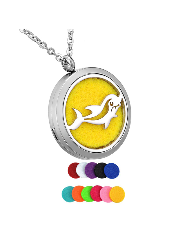 Happy Dolphin Round Aromatherapy Essential Oil Diffuser Locket Necklace by Valyria