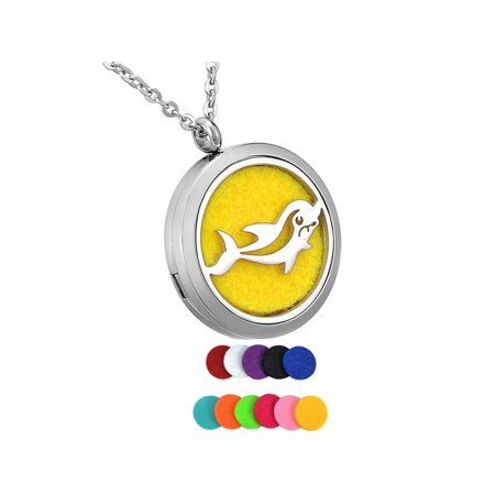 Happy Dolphin Round Aromatherapy Essential Oil Diffuser Locket Necklace
