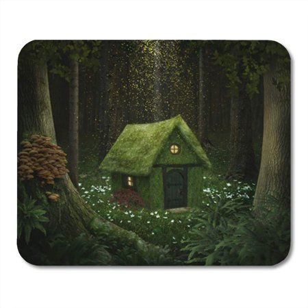 Moss Cottage - SIDONKU Fantasy Little House of Moss in Enchanted Forest Cottage Mousepad Mouse Pad Mouse Mat 9x10 inch