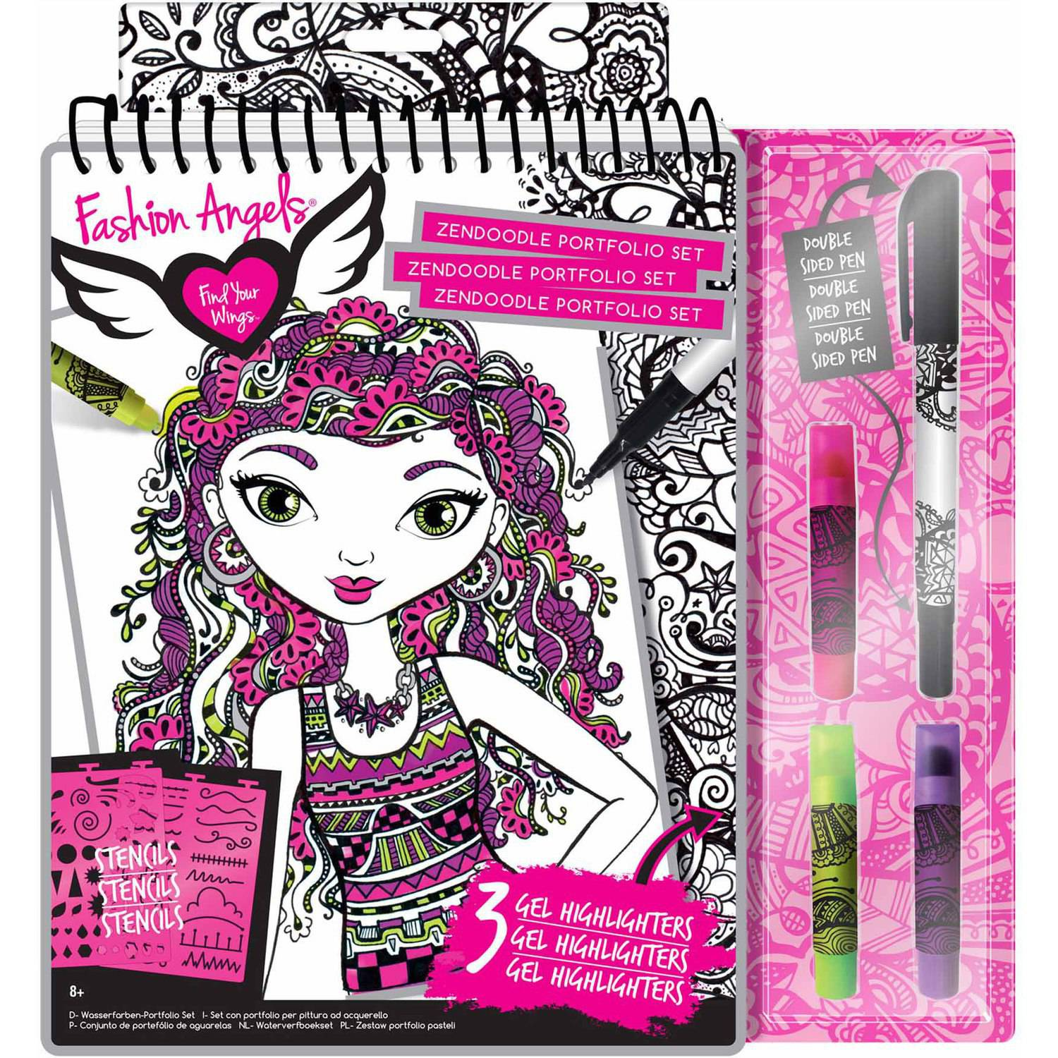 Fashion Angels Zendoodle Illustration Portfoloio Set Walmart