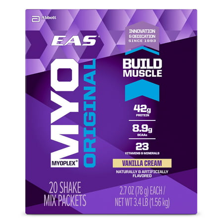 EAS Myoplex Original Protein Shake Vanilla Cream 2.7 oz Powder Packs (Pack of 20)