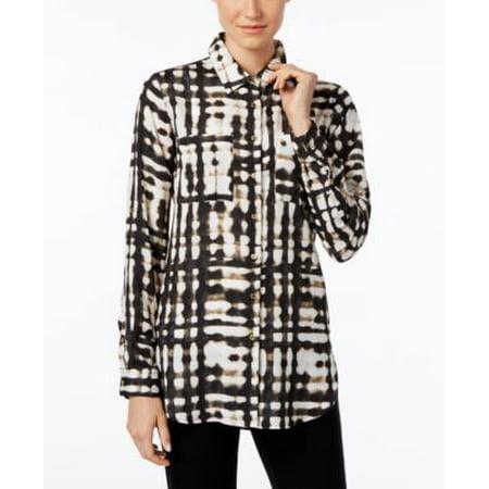 Calvin Klein Black Blazer - Calvin Klein Tab-Sleeve Printed Tunic Black Matrix L