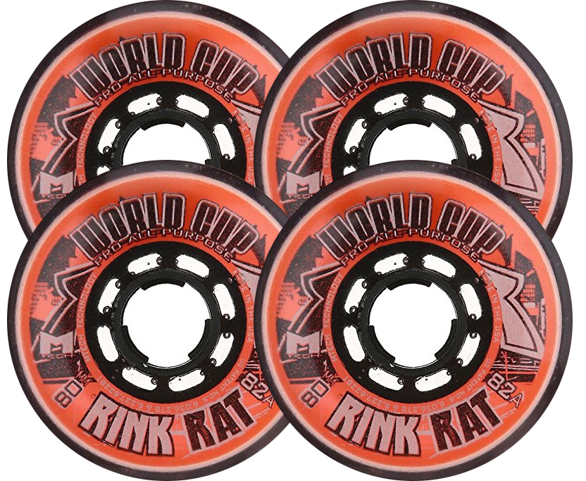 RINK RAT Wheels 72mm 82a WORLDCUP 4-Pack Orange Black Inline Indoor Hockey by Rink Rat
