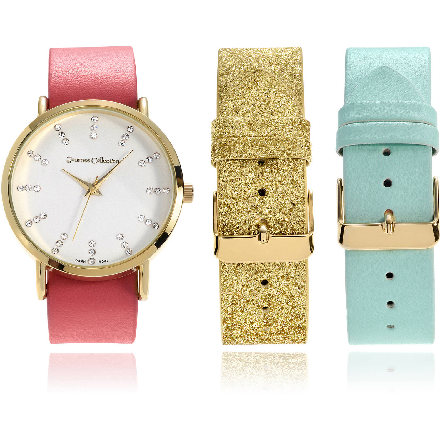 Journee Collection Women's Rhinestone Interchangeable Leather Strap Fashion Watch, Gold