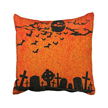 WinHome Decorative Pillowcases Distressed Cemetery Orange Black Halloween Print Throw Pillow Covers Cases Cushion Cover Case Sofa 18x18 Inches Two Side