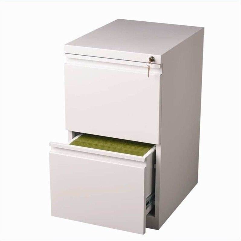Hirsh Industries 2 Drawer Mobile File Cabinet In White