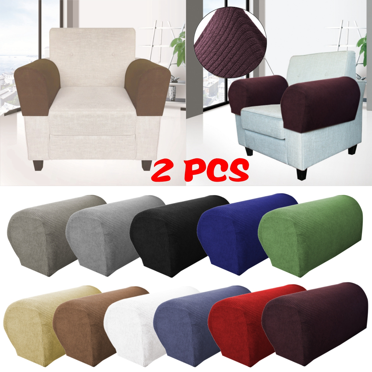 2Pcs Premium Armrest Covers Stretchy Chair Sofa Couch Arm Protector Stretch