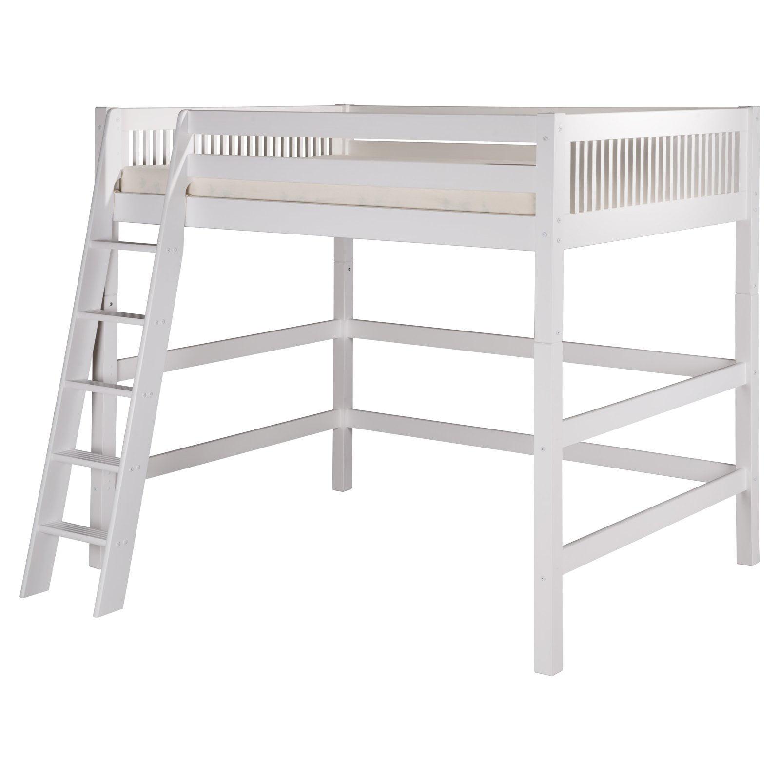 Camaflexi Full Size High Loft Bed - Mission Headboard - White Finish