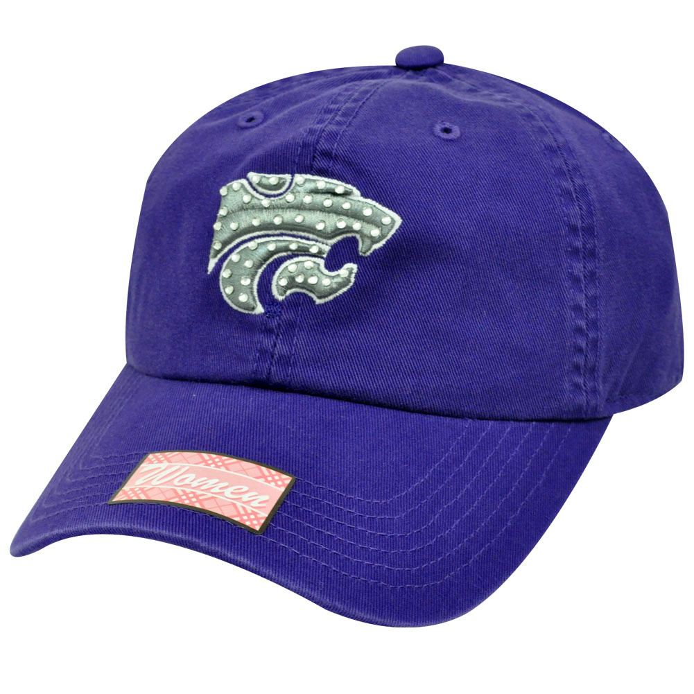 NCAA Kansas State Wildcats Purple Gray Silver Rhinestones Womens Ladies Cap Hat by Twins Enterprise