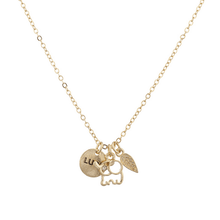 Lux Accessories Goldtone Boho Good Luck Charm Elephant Leaf Verbiage Necklace