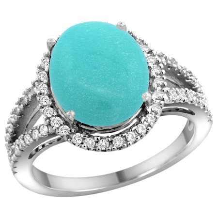 14k White Gold Natural Turquoise Ring Oval 12x10mm Diamond Accents, size 6