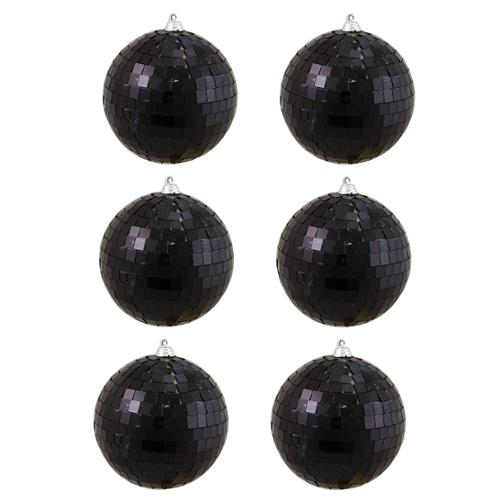 "6ct Jet Black Mirrored Glass Disco Ball Christmas Ornaments 3.25"" (80mm)"