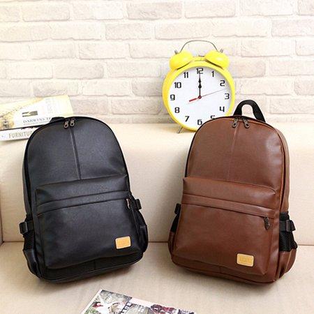 Casual Fashion Men Women PU Leather Backpack School Bookbag Laptop Shoulder