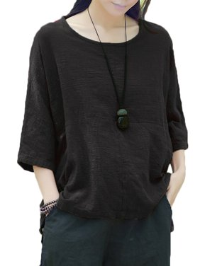 ad4a80912e Product Image New Women Casual Loose Solid O-neck Shirt Half Sleeve Cotton  Linen Top