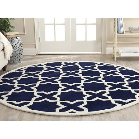 Safavieh Chatham Collection CHT732C Handmade Dark Blue and Ivory Premium Wool Round Area Rug (7' Diameter)