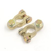 2Pcs Positive Negative Zinc Alloy Car Battery Terminal Clamps Gold Tone