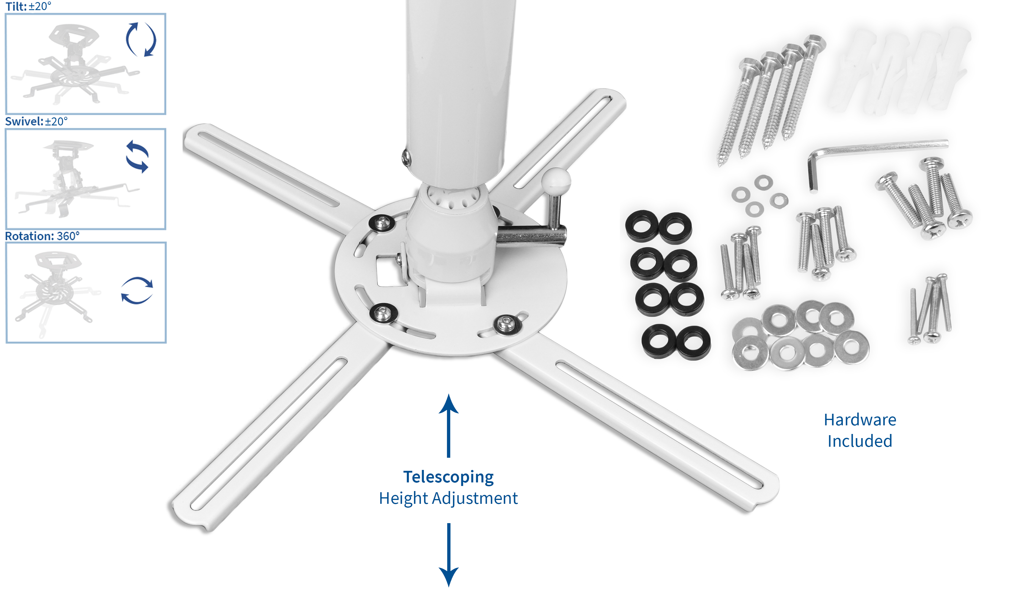 VIVO Universal Articulating Heavy Duty Ceiling Extending Projector Mount White