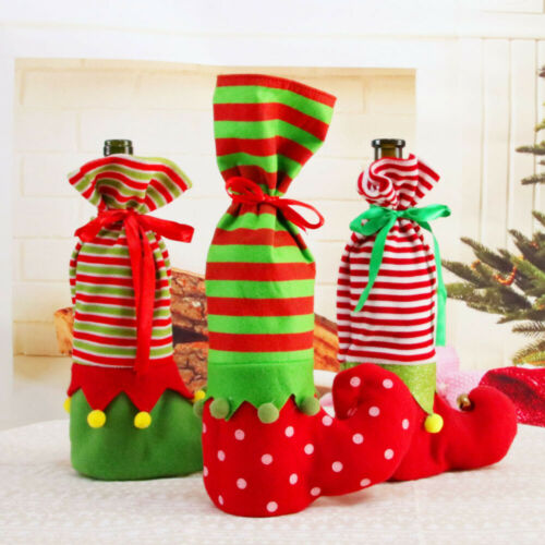 Santa Pants Christmas Candy Wine Gift Bags Stocking Bottle Bag Xmas Decorations