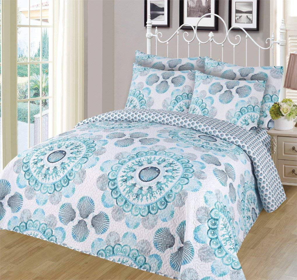 6-piece Super Soft Queen Size Pinsonic Quilted Reversible Bedspread Set Elsa