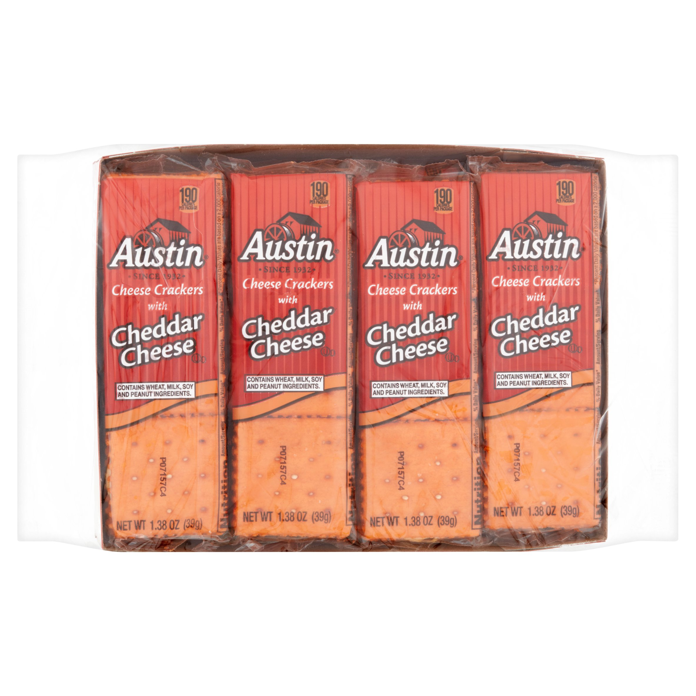 Austin Cheese Snack Crackers with Cheddar Cheese 8-1.38 oz. Package by Kellogg Sales Co.,