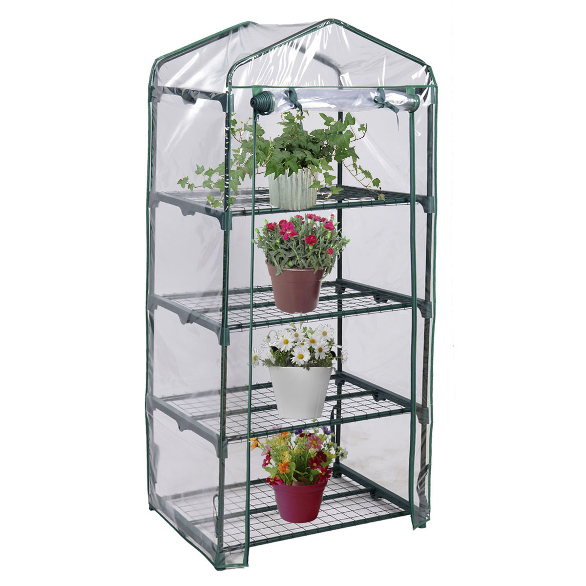 Costway Portable Mini Walk In Outdoor 4 Shelves Greenhouse