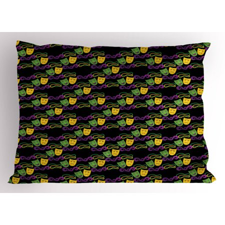 New Orleans Pillow Sham, Masquerade Pattern with Happy and Sad Masks Beads Mardi Gras Theme, Decorative Standard Queen Size Printed Pillowcase, 30 X 20 Inches, Green Purple Yellow, by Ambesonne - Masquerade Themes